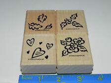 Stampin Up Seasonal Images Stamp Set of 4 Holly Hearts Leaf Leave Flowers