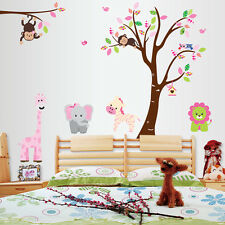 New Monkey Lion Tree Removable Vinyl Wall Decal Stickers Kids Room Home Decor