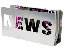NEWS MAGAZINE RACK Metal NEWSPAPER Holder - SILVER