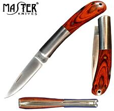 Gentleman's Pocket Knife; Master Knive's Classic Wood Handle w/ Folding Blade