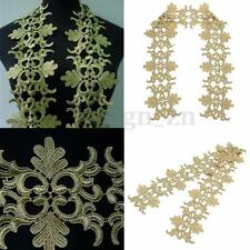 Dentelle Guipure Applique Bordure broderie Metallic Gold Lace Trim 1 yard DIY