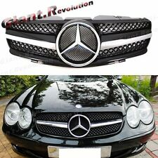 SL63 Type Shiny Black 1 Fin Front Replaced Grille For 03-06 BENZ R230 SL55 SL500