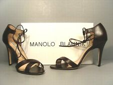 Manolo Blahnik Backla Brown Leather Ankle Tie Sandals Pumps High Heels 38/7.5