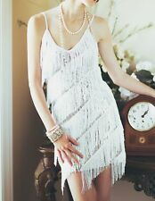 FLAPPER FRINGE 1920s WHITE GREAT GATSBY SEQUIN PARTY LATIN DRESS S