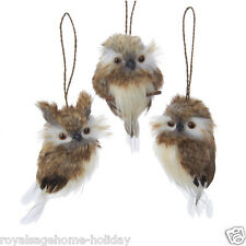 "C2279 4"" Soft Brown Owl Set/3 Christmas Craft Ornament Great Horned Barn Feather"