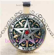 Metal Pentagram Photo Cabochon Glass Tibet Silver Chain Pendant Necklace