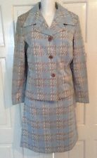 VINTAGE 60s WOLSEY LOMBARDI CRIMPLENE SKIRT SUIT UK 16 See Measurements