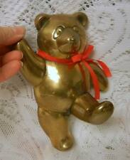 VINTAGE CAST BRASS TEDDY BEAR TOY STOCKING HANGER HOLDER HOOK By PENCO