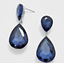 "1.5"" Navy  Blue Long Rhinestone Crystal Pageant Dangle Drop Pierced Earrings"