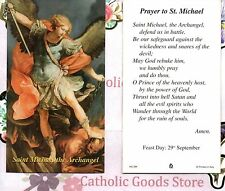St Michael the Archangel with Prayer to St Michael  - Paperstock Holy Card