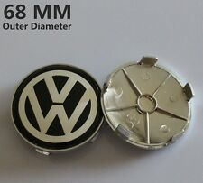Set of 4 VW Black 68mm Wheel Centre Caps Badge ALLOY BMW Logo Emblem Volkswagen
