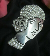 VINTAGE Art Deco BROOCH pin FLAPPER LADY open-work CRYSTAL Czechoslovakia SIGNED