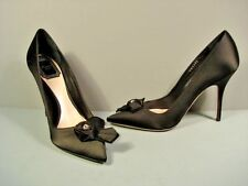 Dior Black Satin Blossom Flower Point Toe High Heels Pumps Shoes 36.5/6.5 NEW