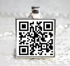 """QR Code """"Will you marry me?"""" Glass Pendant Charm Keepsake Use App to Read Msg"""
