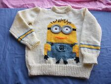 Girls Jumper/Sweater Knitting pattern minion DK. Chest,. 24,26,28,30,32,34in.
