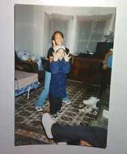 Vintage 90s PHOTO Filipino Boy W/ Older Sister West Side Hand Gang Signs Joking