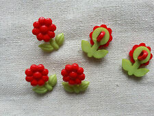 6 x Kids Buttons Clothing Sewing Knitting Card Making Red Flower