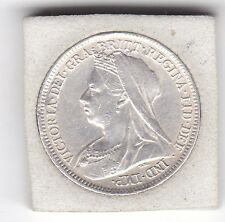 Sharp  1899  Queen  Victoria   Sixpence  (6d)  Sterling  Silver  British  Coin