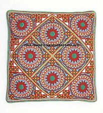 """Home Decor 16"""" Floral Suzani Pillow Cases Woolen Embroidery Indian Cushion Cover"""