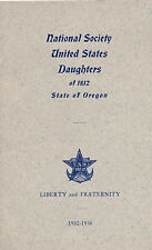 1932 Daughters of 1812 Society, Oregon Convention Program, Officers, Roster
