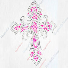 "Rhinestone Transfer "" Twisted Cross "" Flourecent Pink, Iron On, Bling"