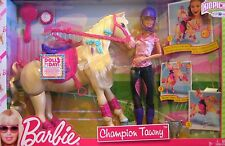 Barbie Champion Tawny Trotting Horse & Barbie Doll Set