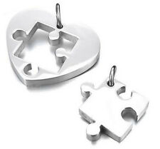 2pcs Stainless Steel Heart Puzzle Pendant Couple Love Necklace +Chain Set Silver