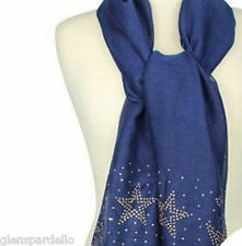 KIRKS FOLLY STARRY NIGHT STUDDED SCARF MIDNIGHT BLUE NEW  goldtone flakes