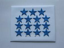 15 X EDIBLE BLUE GLITTER STARS. CAKE DECORATIONS - MEDIUM 3cm