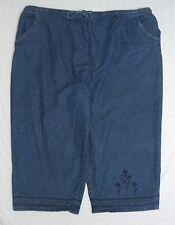 BASIC EDITIONS PULL ON ELASTIC WAIST BLUE DENIM CAPRI PANTS WOMENS SIZE 3X