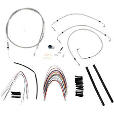 """Burly 14"""" Stainless Ape Hanger Cable Wiring Kit 08-13 Harley FLHR FLTR w/o ABS"""