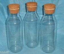 SET OF THREE Tall Glass Apothecary / Milk Bottle Storage Jar Canisters Cork Lids