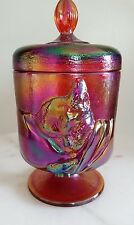 FENTON Art Glass 1991 Chessie Cat Ruby  Red Carnival Glass Covered Candy Dish