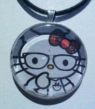 "Hello Kitty "" NERDS "" Glass pendant with leather necklace!"