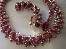 VINTAGE 50'S SIGNED KRAMER OF NY RED & PINK  RHINESTONE BIB  NECKLACE & EARRING