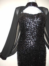 NEW ORIGINAL SEQUIN BLACK BODYCON KNEE SEXY DRESS PARTY NIGHT SLEEVES W EVENNING