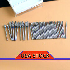 10pcs Dental Tungsten Steel Burs Drill Marathon 2.35mm & 30 Diamond Burs Sus