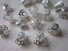 60 x Silver Tone Iron Bead Caps Filigree Bead Cones - Crown - 9 x 7 mm findings