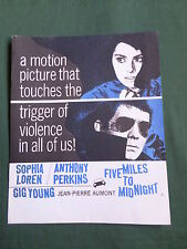 SOPHIA LOREN - ANTHONY PERKINS  - FIVE MILES TO MIDNIGHT  -  PRESS FLYER