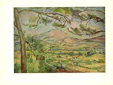 """1963 Vintage CEZANNE """"MONT SAINTE VICTOIRE"""" #2 COLOR offset Art Print Lithograph"""