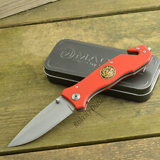 Boker Magnum Fire Dept 440 Stainless Red G-10 Handle Rescue Knife 01MB366