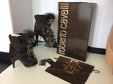 Roberto Cavalli Fur Trimmed Boots Uk 6, Eu39, Brown Suede, Heel, Dasha RRP £1550