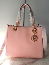 NEW Auth MICHAEL KORS Cynthia Small Saffiano Leather Satchel Bag, Pale Pink $298