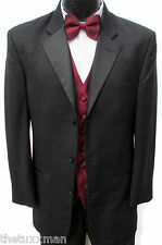 60 L Mens Black Checkered Tuxedo Package w/ Pants Vest & Tie Wedding Formal Gala