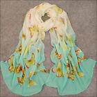 Women's Green Butterfly Georgette Chiffon Long Wrap Shawl Beach Scarf