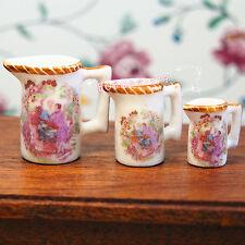 Dollhouse Miniature 1:12 Toy Kitchen Dining Room 3 pcs Porcelaine Jar Cup L-125