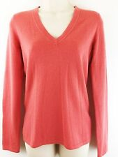 Christopher Fischer Womens Small 100% Cashmere Sweater Coral V Neck Pullover Top