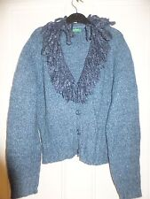 VINTAGE UNITED COLOURS OF BENETTON BLUE CARDIGAN JUMPER SWEATER 12 UK  BNWOT