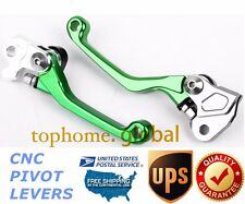 For Kawasaki KX65 KX85 2000-2016 Clutch Brake Levers CNC Pivot Green US Stock
