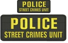 Police Street Crimes Unit embroidery patches 4x10 and 2x5 hook gold